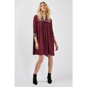 TOPSHOP boho burgundy long sleeve dress, bohemian